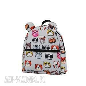 szare na zakupy ręcznie-szyte plecaczek farbiś 2083 koty