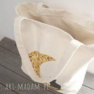 brązowe ekotorba ręcznie malowana torba z kotem