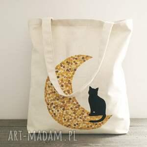 torba żółte ręcznie malowana z kotem na księżycu