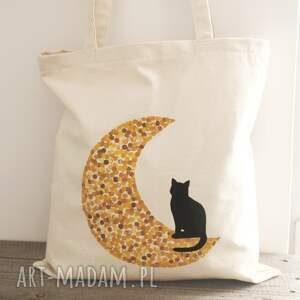 niekonwencjonalne torba ręcznie malowana z kotem