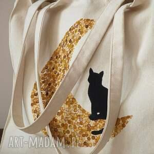hand made torba ręcznie malowana ekotorba kot