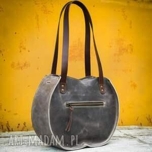 ręcznie wykonane torba do pracy szara skórzana torebka wykonana