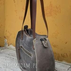 ręcznie wykonana torebka szara skórzana
