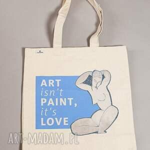 niebieskie na zakupy modigliani torba bawełniana (średnia) art isnt