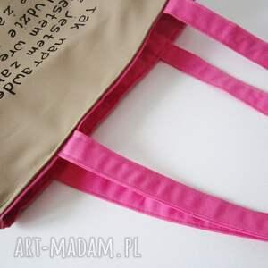 na zakupy eko torba bawełniana z ręcznie wykonaną