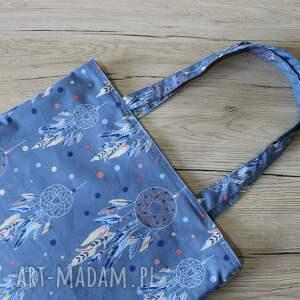 elegancka niebieskie torba bawełniana - łapacze snów