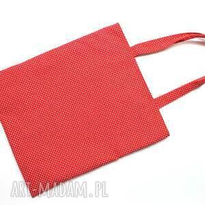 białe piknik torba bawełniana - kropeczki