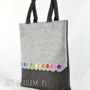 szare na zakupy filc torba filcowa - xl z kolorowymi