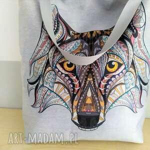 Torba zakupowa z wilkiem