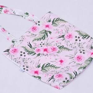 Torba na zakupy shopperka ekologiczna zakupowa na ramię bawełna dzikie kwiaty
