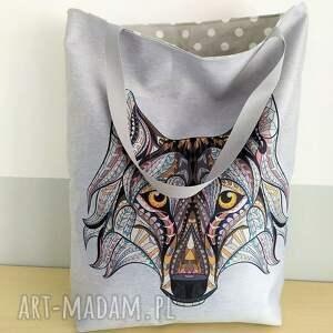 torebka jeans torba zakupowa z wilkiem