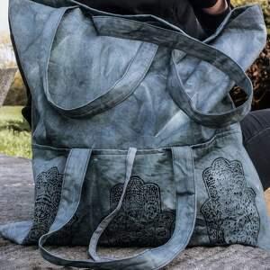 surowy niebieskie torebka uszyta z farbowanej na stalowo surowej