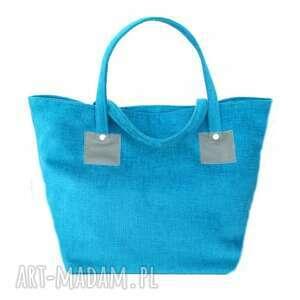 na zakupy markowe-torebki 37-0003 turkusowa torebka shopper