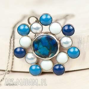 naszyjniki naszyjnik-z-perłami a586 błękitna rozeta naszyjnik