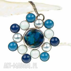 naszyjniki naszyjnik-ze-srebra a586 błękitna rozeta naszyjnik
