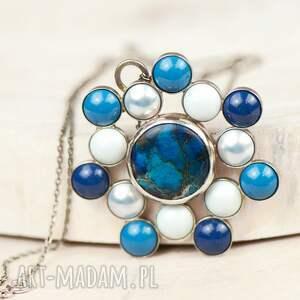 naszyjnik-ze-srebra naszyjniki turkusowe a586 błękitna rozeta naszyjnik
