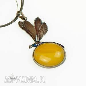 żółte naszyjniki naszyjnik srebrny a562 słoneczna ważka -