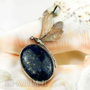 wyjątkowe naszyjniki naszyjnik a478 srebrna ważka z lapis lazuli