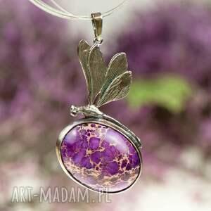 naszyjniki prezent-z-fioletem a612 ważka z fioletowym jaspisem