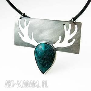 zielone naszyjniki jeleń a484 z lasu -naszyjnik srebrny