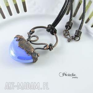 brązowe naszyjniki miedź abstrakcyjny błękit - naszyjnik