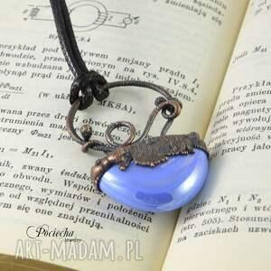 ręczne wykonanie naszyjniki szkło abstrakcyjny błękit - naszyjnik