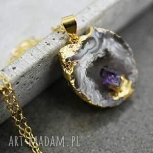 fioletowe naszyjniki agat & ametyst pozłacany łańcuszek