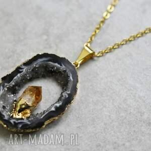 naszyjniki kamień agat & ametyst pozłacany naszyjnik