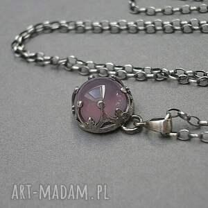 fioletowe naszyjniki srebro agat w koronkach /wrzos/ -