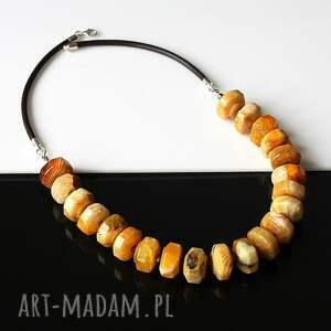 pomarańczowe naszyjniki agat żólty - naszynik