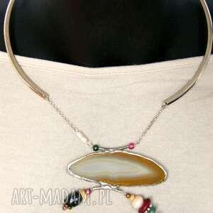 kamienie naszyjniki agatowy naszyjnik: w beżowej