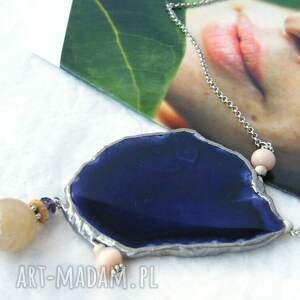 ręcznie robione naszyjniki agatowy wisior z łańcuszkiem: