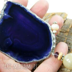 fioletowe naszyjniki agat agatowy wisior z łańcuszkiem:
