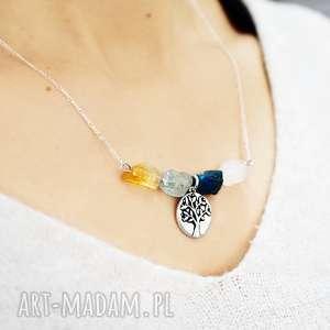 naszyjniki kamień 925 akwamaryn& cytryn& apatyt & kryształ górski