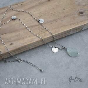 naszyjniki srebro akwamaryn z pastylkami. srebrny