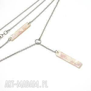 handmade naszyjniki stal alloys collection - pink marble