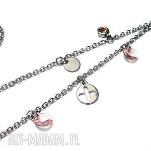 różowe naszyjniki stal alloys collection - kółko i krzyżyk