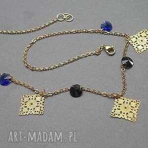 niebieskie naszyjniki stal alloys collection -ażurowe romby
