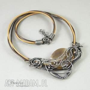 naszyjnik naszyjniki brązowe amanedi - z agatem