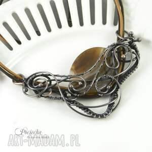 beżowe naszyjniki wyrazisty amanedi - naszyjnik z agatem