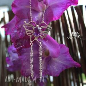 handmade naszyjniki ametystowy motyl