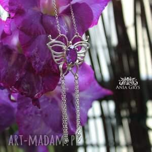 handmade naszyjniki srebrnywisiorek ametystowy motyl