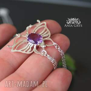 srebrnywisiorek ametystowy motyl