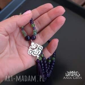 hand made naszyjniki ametyst ametysty, peridoty i rozeta