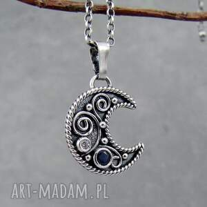 niebieskie naszyjniki boho arabeski na księżycu z