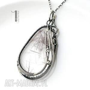 szare naszyjniki rutyl auril - srebrny naszyjnik z kwarcem