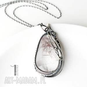 niesztampowe naszyjniki wire auril - srebrny naszyjnik z kwarcem