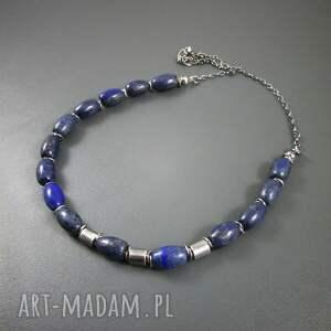 oksydowane naszyjniki beczułki z lapis lazuli