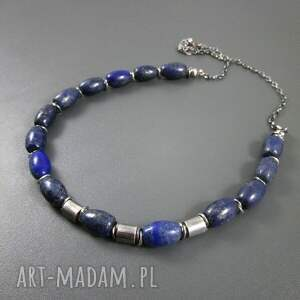 naszyjniki oksydowane beczułki z lapis lazuli
