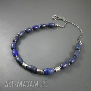 atrakcyjne naszyjniki srebro beczułki z lapis lazuli